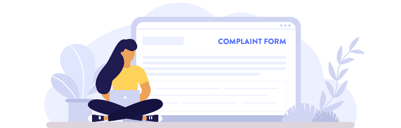 An illustration of a woman filing a complaint online on her laptop.