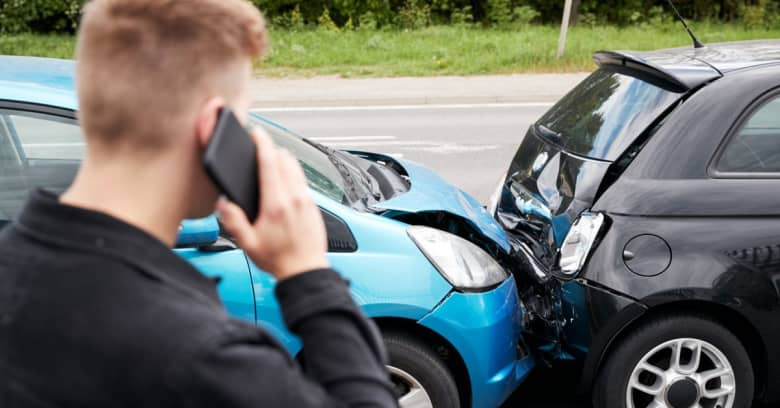 A young man is calling for help after getting into a rear-end accident with an uninsured driver.