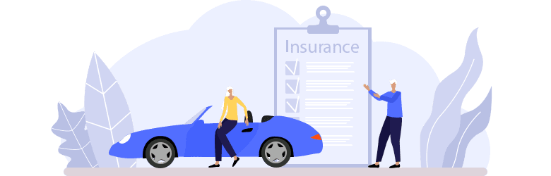 An illustration of an older woman sitting near a blue car with her husband who approves of their car insurance.