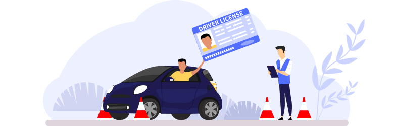 An illustration of a young man in his vehicle passing his driver's test and holding up his driver's license as his instructor is making final notes on the test.