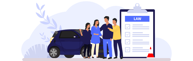 An illustration of parents and a younger sister hugging a young man who passed his driver's test and now knows the driving laws and rules.