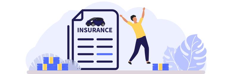 An illustration of a young man jumping for joy as he's saving on car insurance.