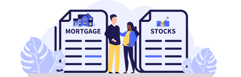 An illustration of a young man with his pregnant wife standing between paying off their mortgage or invest their money.