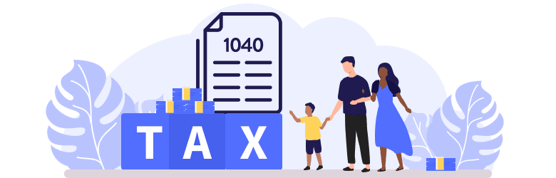 An illustration of a young family reviewing their 1040 tax form.