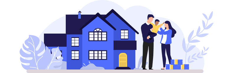 An illustration of a young man and woman standing in front of their home and hugging their foster child.