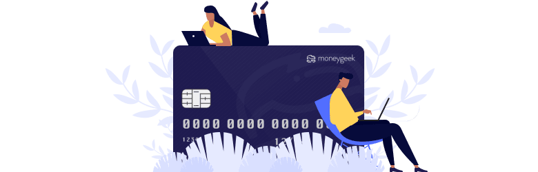 An illustration of a young man and woman searching for ways to build their credit on their laptops around a large MoneyGeek branded credit card.