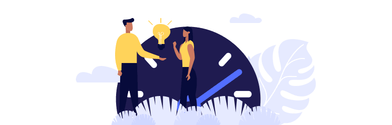 An illustration of a young man presenting a lightbulb idea to a woman on establishing and building their credit as a foreigner.