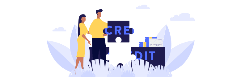 An illustration of a young couple piecing together a puzzle that spells 'Credit.'