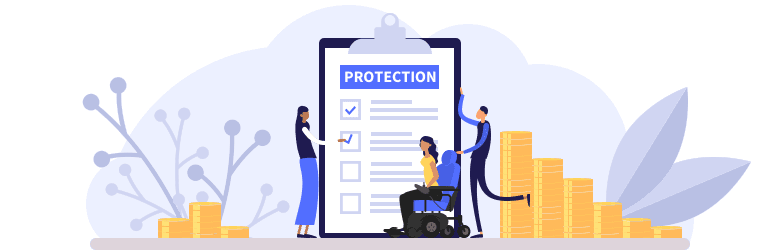 An illustration of a young woman in an automatic wheelchair and her parents going through a checklist of consumer protection and rights.