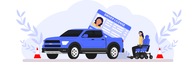 An illustration of a young woman in an automatic wheelchair is preparing to enter her truck after obtaining her driver's license.