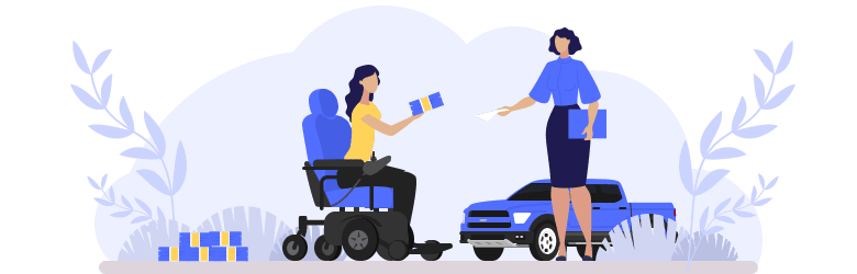 An illustration of a young woman in an automatic wheelchair is purchasing car insurance by handing a stack of cash to a female representative.