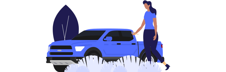 An illustration of a young woman holding her eyeglasses and walking to her blue truck.