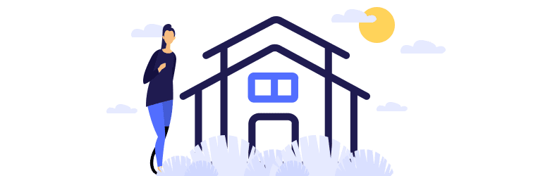 An illustration of a woman standing in front of a rental house.