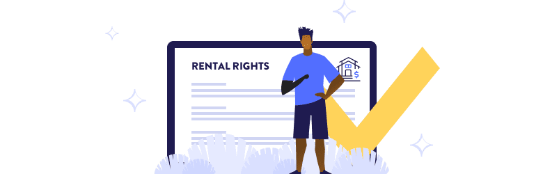 An illustration of a man with a prosthetic arm standing in front of a screen displaying rental rights.