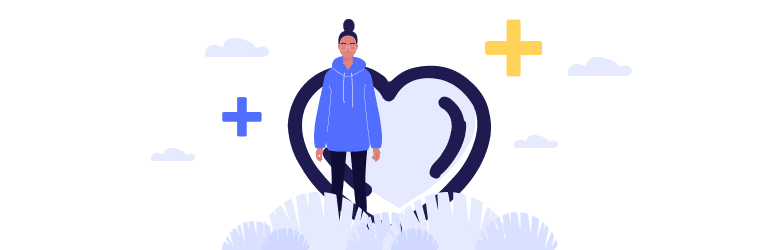 An illustration of a transgender person standing in front of a heart and medical plus signs.