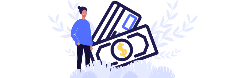 An illustration of a transgender person standing in front of money and credit cards as they look for financing options and support.