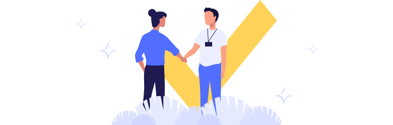 An illustration of a transgender person shaking hands with an organization member.