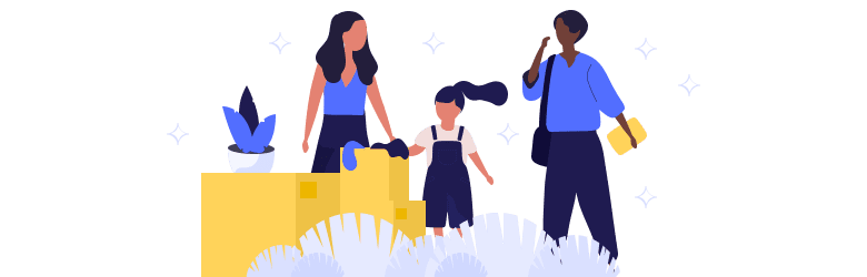 An illustration of a young woman and her child seeking help from another person.