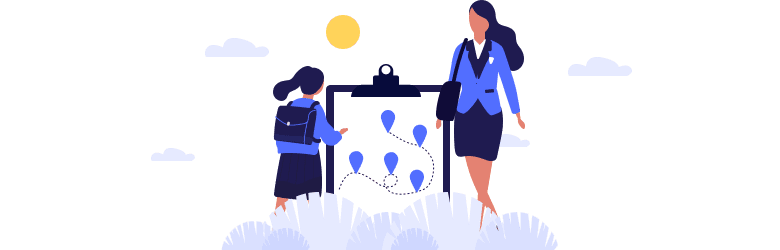 An illustration of a young woman in business attire and her child in a school uniform reflecting on their journey to regaining financial independence.