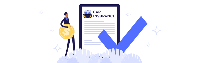 An illustration of a man holding a large coin is ready to purchase car insurance.
