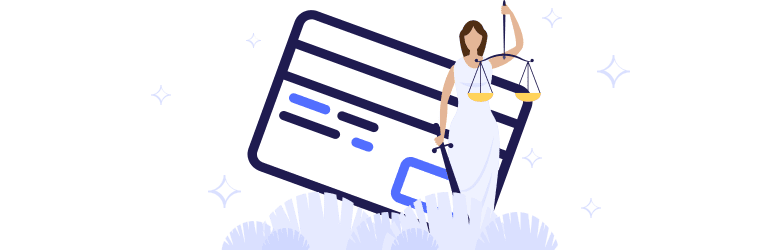 A woman holds up the scales of justice while standing in front of a credit card icon.