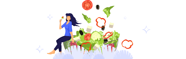 An illustration of a woman eating a fork full of salad while sitting on a large bowl.