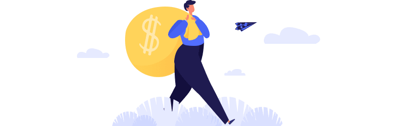 An illustration of a man carrying a large back of money over his shoulder and walking home.