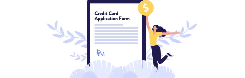 An illustration of a young woman jumping for joy with a large coin in her hand as she's filling out her credit card application.