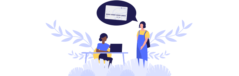 An illustration of a student and representative are discussing credit cards.