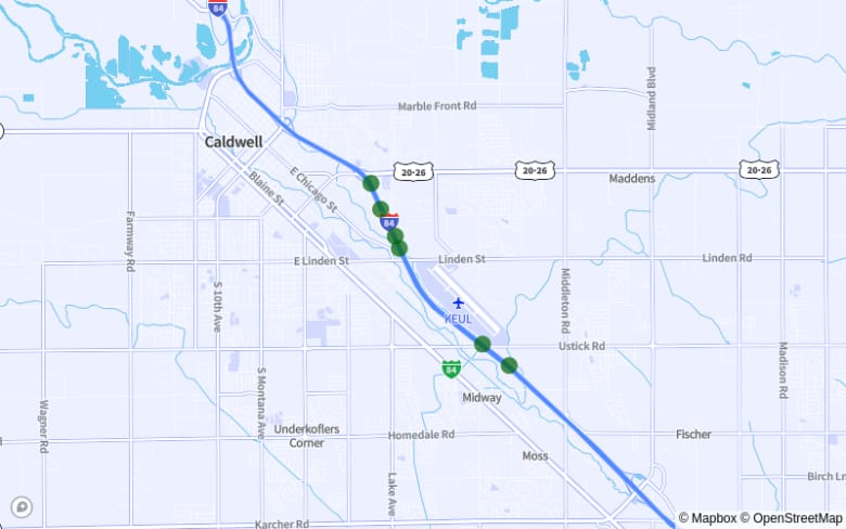 Map of I-84 Between Ustick Rd. and Exit 29