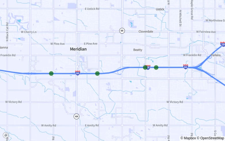 Map of I-84 from Exit 49 to Exit 42