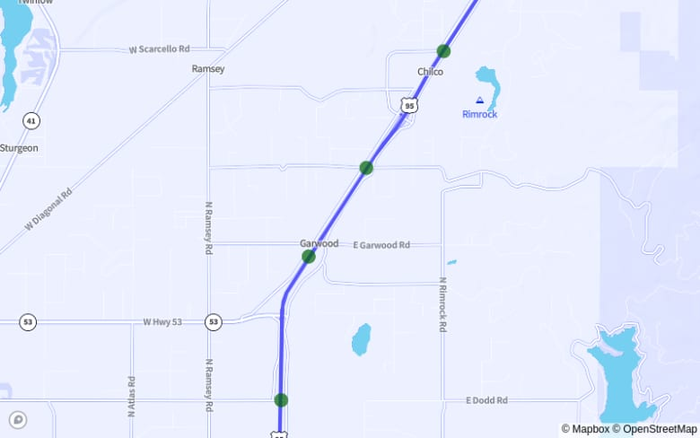 Map of US-95 from E. Nez Perce Rd. to Hatwai Bypass