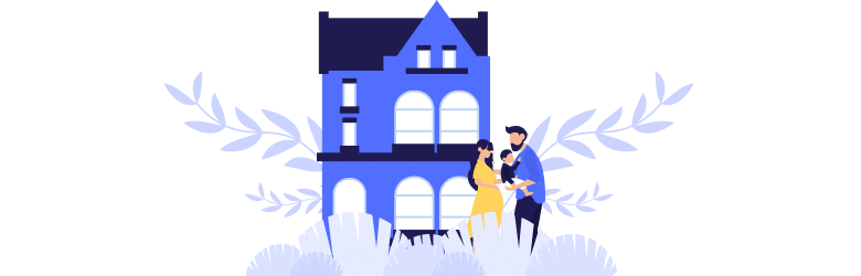 An illustration of a young family getting ready to enter their home.