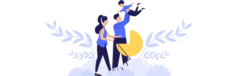 An illustration of a young woman standing next to her husband, lifting their child.