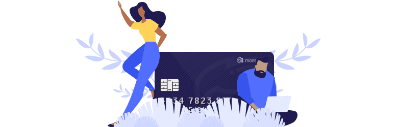 An illustration of a young woman leaning against a MoneyGeek credit card has her hand raised, and a young man on his laptop is looking for ways to travel as a DACA recipient.