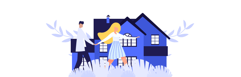 An illustration of a young man and woman interested in buying a home.