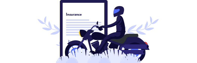 An illustration of a motorcyclist riding on their bike in front of a clipboard with an insurance policy.