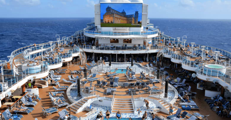 A busy day at a cruise ship pool