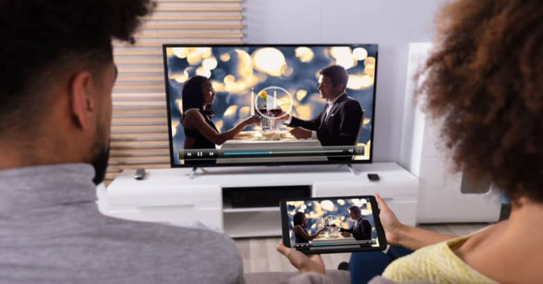 Couple watching streaming service