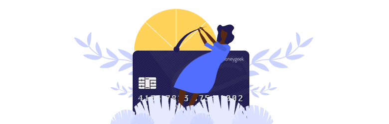 An illustration of a young woman pulling on the credit rating needle as she tries to improve her credit score.