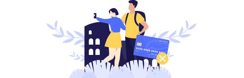 An illustration of a young couple taking a selfie together after a store declined their credit card. With travel hacking, people can face the risk of overspending and get into debt.