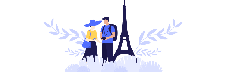 An illustration of a young woman using her cellphone to research affordable locations while her partner looks and provides his suggestions.