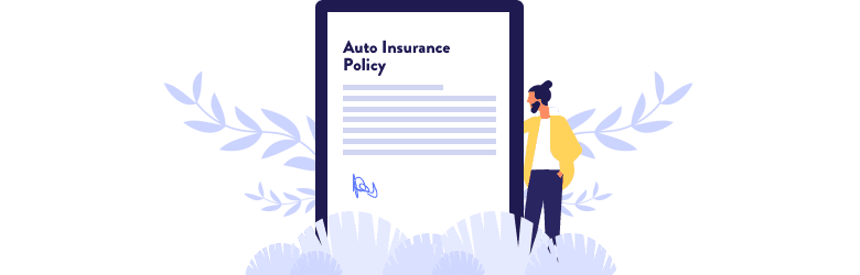 An illustration of a young man reviewing his coverage is making sure his accident is covered under his auto insurance policy.