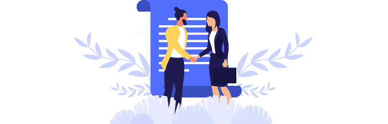 An illustration of a young man shaking hands with his insurance provider after they settled his claim.