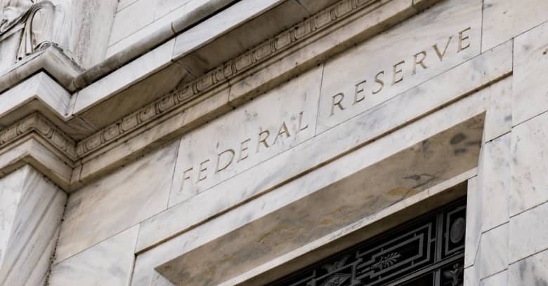 A closeup of the Federal Reserve Bank building