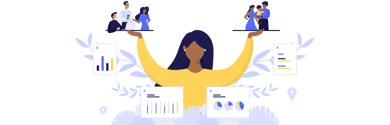 An illustrated woman balances two options in her hands: On the left, she is at work with colleagues, while on the right, she is at home with her family..
