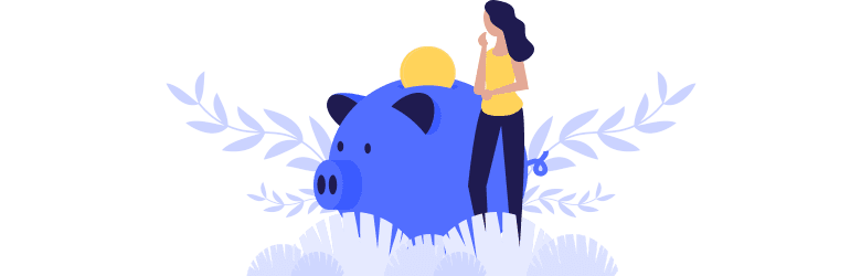 An illustration of a young woman putting a large coin into a piggy bank to save for retirement.