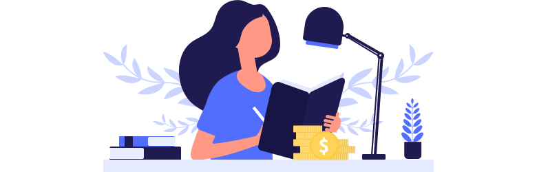 An illustration of a young woman writing in a notebook ways to save and invest.