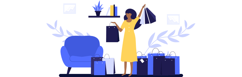 An illustration of a young woman who is enjoying the new items she bought at the store.