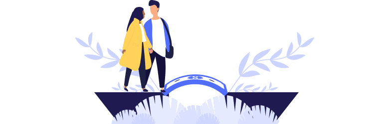 An illustration of a young couple walking over a money bridge as they work through their financial challenges together.